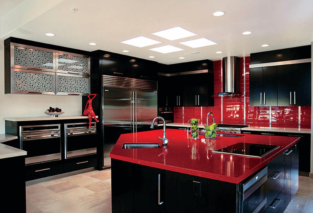 кухни в красно черном стиле фото